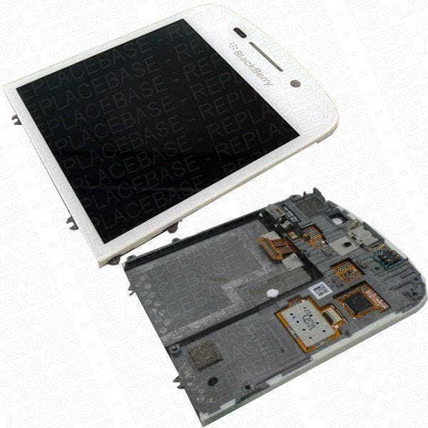 Original Blackberry Q10 front assembly, includes LCD bezel, touch screen, LCD, earpiece and vibrating motor