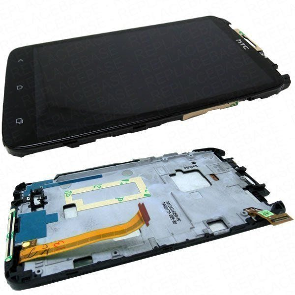 Replacement front LCD and digitizer / touch screen for HTC ONE-X - Complete assembly with frame and light guides - 74H02179