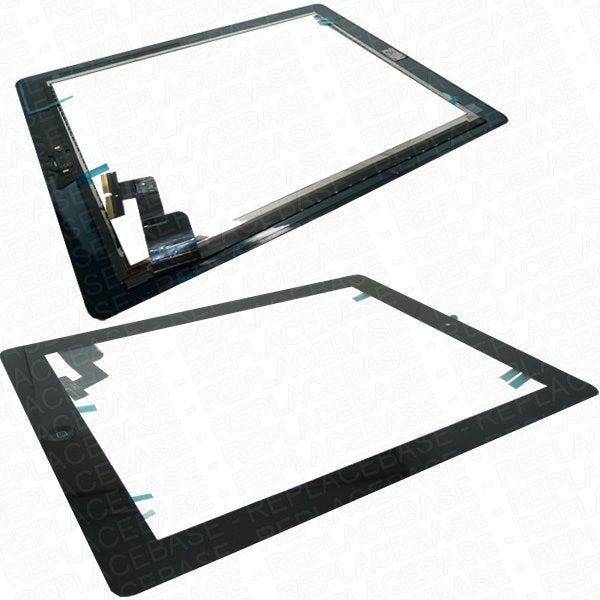 Apple iPad 2 Digitizer assembly, complete assembly with the home button assembly, brackets and adhesive already attached for a quick easy fit