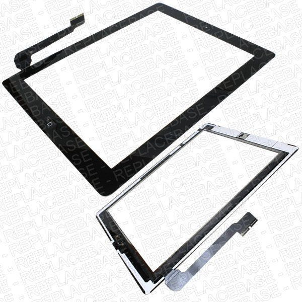 iPad 3 digitizer assembly, this assembly already has home button assembly, front camera bracket and bonding adhesive fitted in place making it the easier solution to replace your existing digitizer