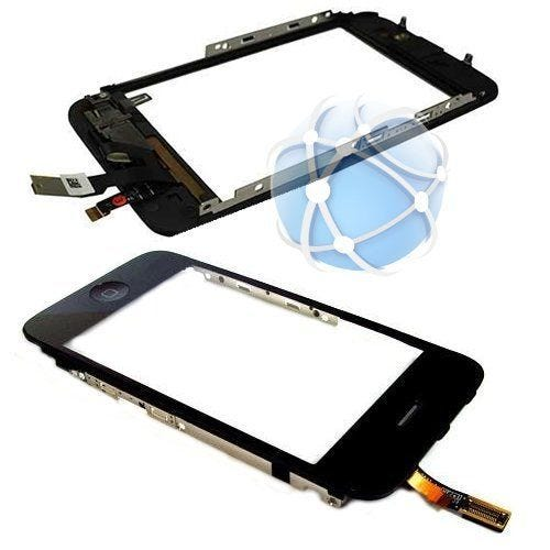 Apple iPhone 3G replacement front digitizer assembly - assembly includes digitizer panel, earpiece, ambient light sensor / proximity sensor cable, external plastic home button, internal home button and middle frame with seal