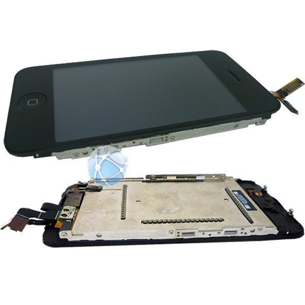 Apple iPhone 3GS touch screen, LCD, LCD plate, middle frame, plastic home button, internal home button, proximity / light sensor cable and earpiece