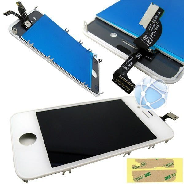 iPhone 4 Replacement Front Touch Screen & LCD Bezel With Adhesive - Using original Apple LCD screen