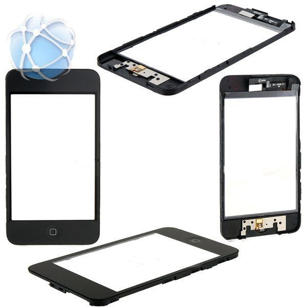 Apple iPod Touch 3rd generation replacement front assembly, touch screen, middle frame and home button pre-assembled and ready to fit