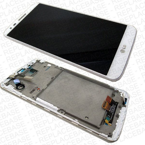 Original LG G2 Replacement LCD assembly, complete with LCD, Touch screen, soft buttons and chassis / bezel / frame