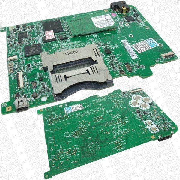 This board contains many components such as the card reader, power input, memory boards, headphone jack, ABXY STARY SELECT buttons and Wi-Fi board