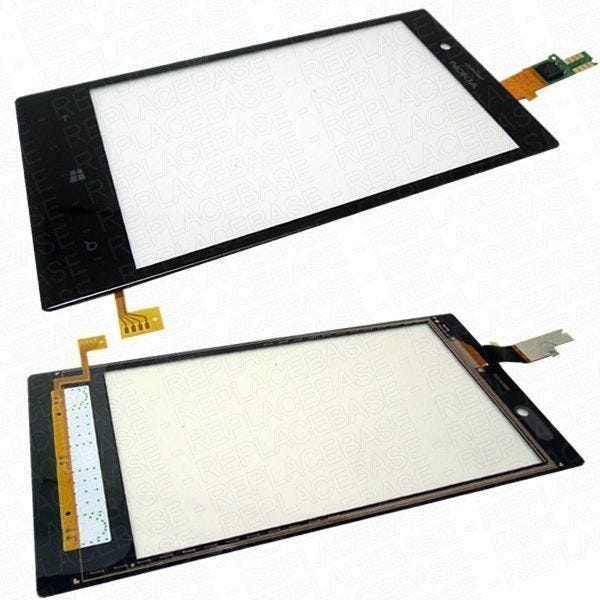 Lumia 720 digitizer with bottom button flex cable attached