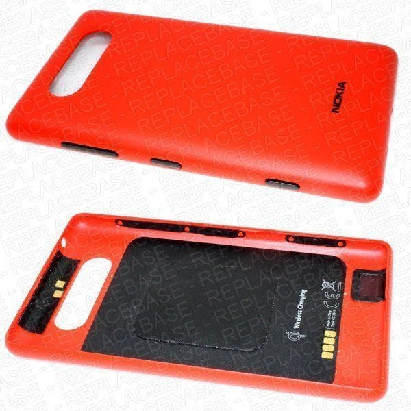 Original Nokia Lumia 820 battery cover / rear housing complete with volume, camera power buttons, antenna and wireless charging coil