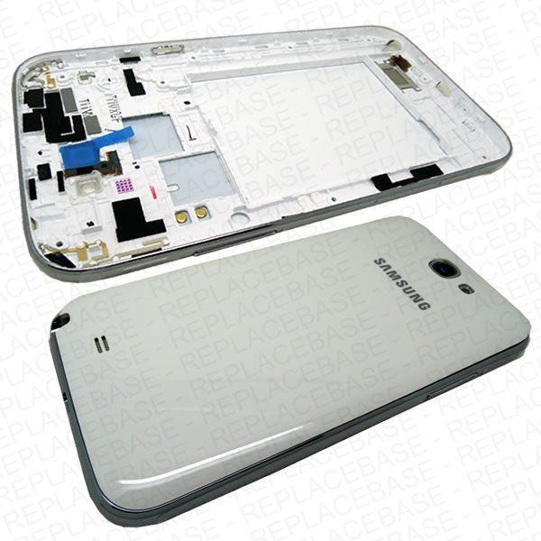 Samsung Galaxy Note II replacement rear assembly includes battery cover, side bezel, power button, camera lens, flash diffuser, mesh grill, volume rocker and water indicators