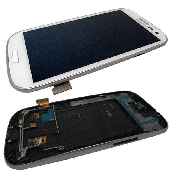 Complete LCD assembly for the Galaxy S3, LCD / digitizer assembly is already fitted to the chassis with the home button and navigation buttons already fitted - all parts are original Samsung and factory new