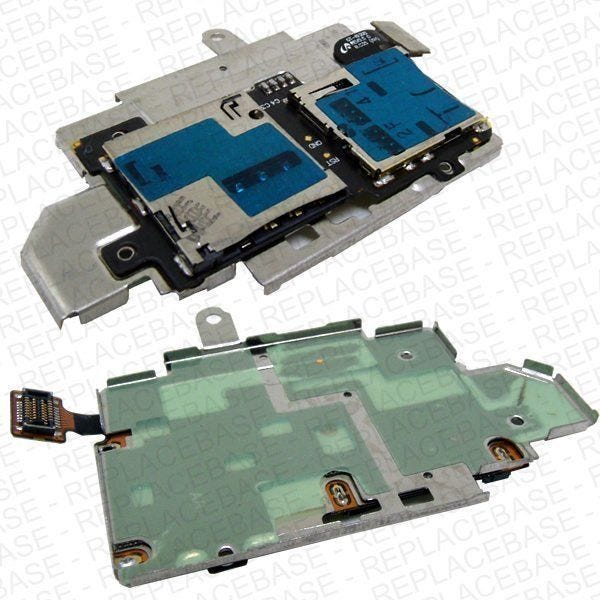 Samsung Galaxy S3 replacement SIM card and SD card slot attached to mounting plate