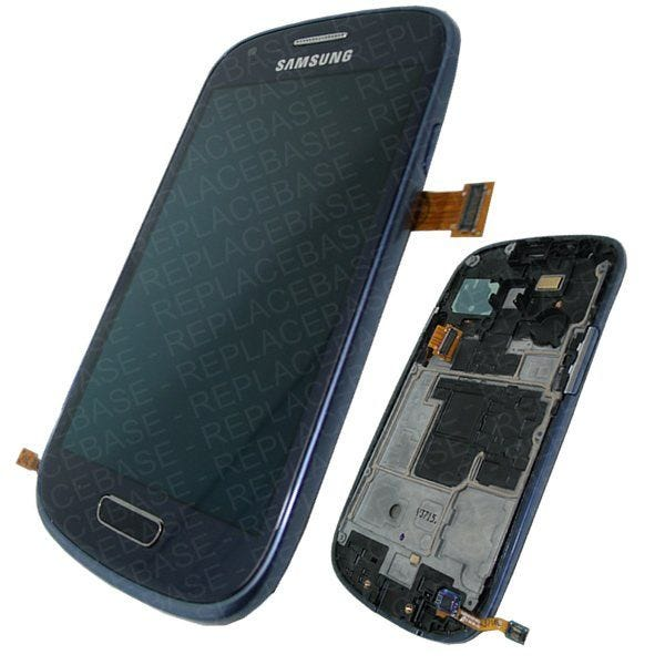 Original Samsung Galaxy S3 Mini LCD assembly, complete with chassis / frame, home button assembly and touch buttons in Royal Blue.