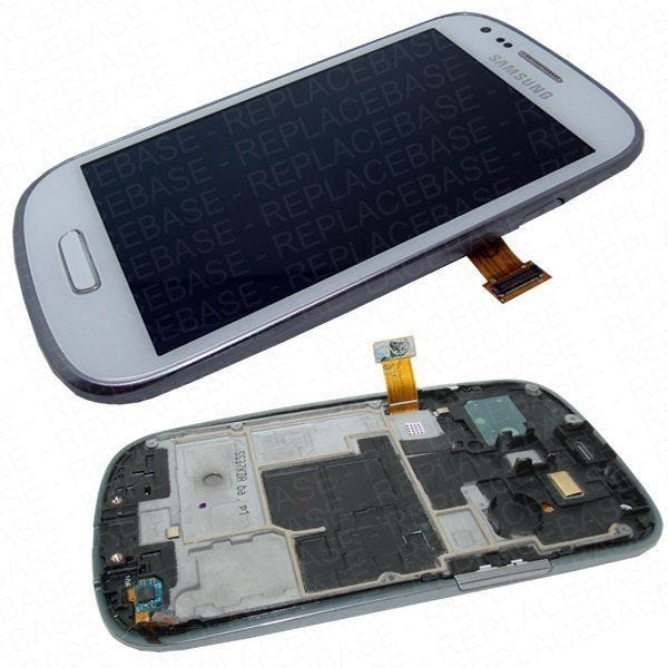 Original Samsung Galaxy S3 Mini LCD assembly, complete with chassis / frame, home button assembly and touch buttons in Royal White.