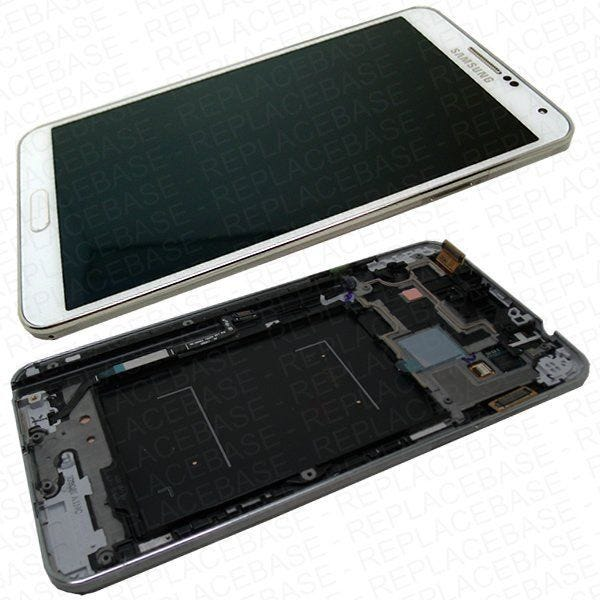 Original Samsung Note 3 N9005 LCD assembly, complete with chassis / frame, home button assembly and touch buttons in White