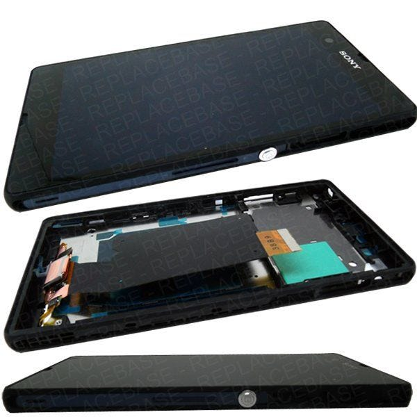 Complete front assembly (LCD screen and touch screen digitizer) for Sony Xperia Z, includes chassis and power button